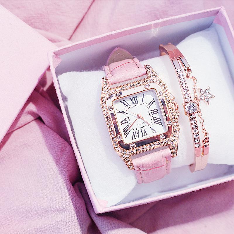 Hot Sale Women Ladies Fashion Leather Strap Square Diamond Quartz Wrist Bracelet Watches Gift Set JSW-1185