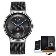 2020 часы женские и мужские часы LIGE Топ Бренд роскошные женские сетчатый ремень ультра-тонкие часы водонепроницаемые кварцевые наручные часы...(Китай)