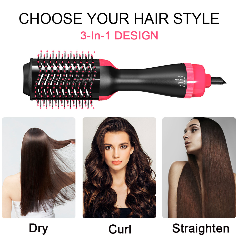 Professional Electric Styling Brush One Step Hair Straightener Dryer Volumizer with Nylon Pin and Tufted Bristles