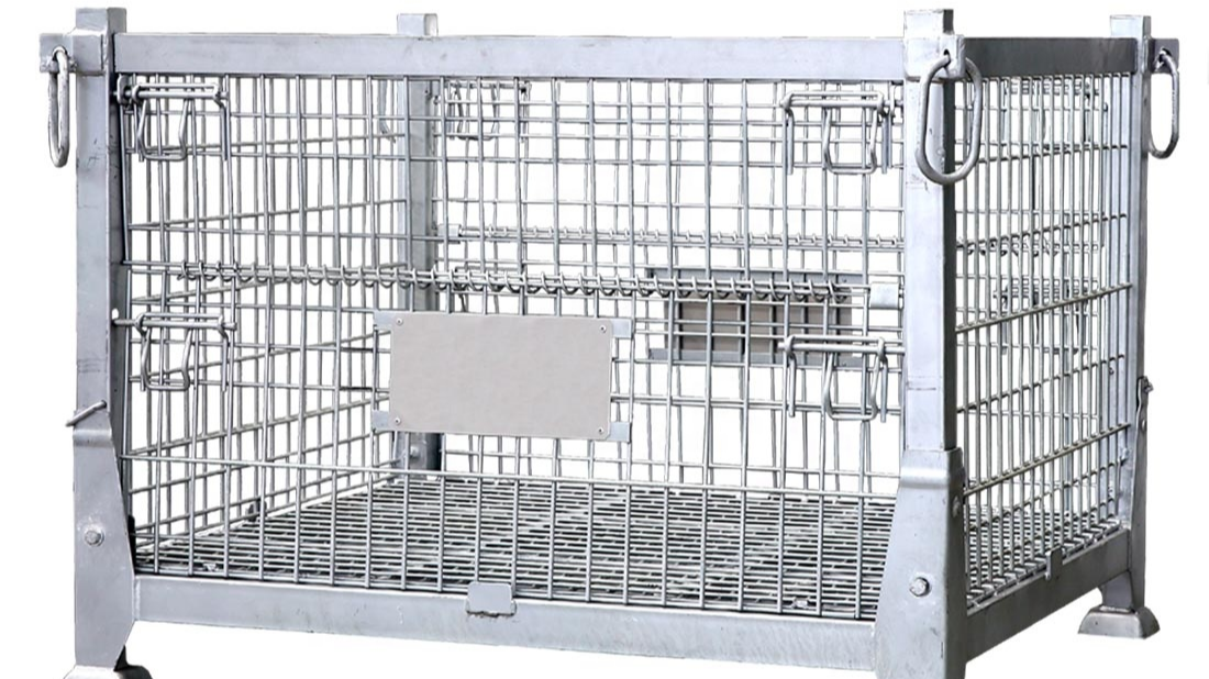 Warehouse Collapsible  Industrial Folding Mesh Basket Wire Mesh Containers for Storage Boxes