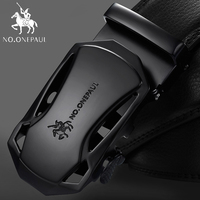 NO.ONEPAUL 2020 AliExpress top sales Automatic Buckle Black Genuine Leather Belt Men's Cow Leather Belts for Men 3.5cm Width
