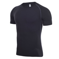 Top grade solid color men quick dry gym polyester t-shirt men short sleeve for sale