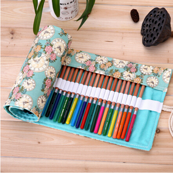 Rose Clock Pattern School Painting Stationery Roll Personalised Pencil Case