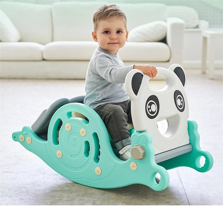 Kindergarten cartoon baby indoor plastic toy multifunctional slide 3 in 1 rocking horse