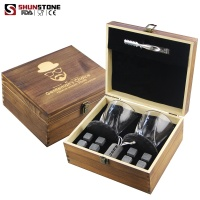 Whiskey Stones And Glasses Gift Set, Whiskey Rocks Chilling Stones In Premium Handmade Wooden Box