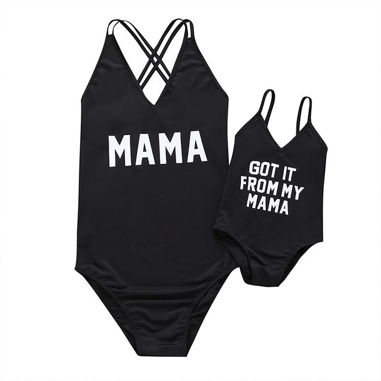 Оптовая продажа; Сезон лето; Семейные комплекты с принтом «Mommy And Me» комплект одинаковой одежды для всей парная одежда для мамы и дочки, одежда
