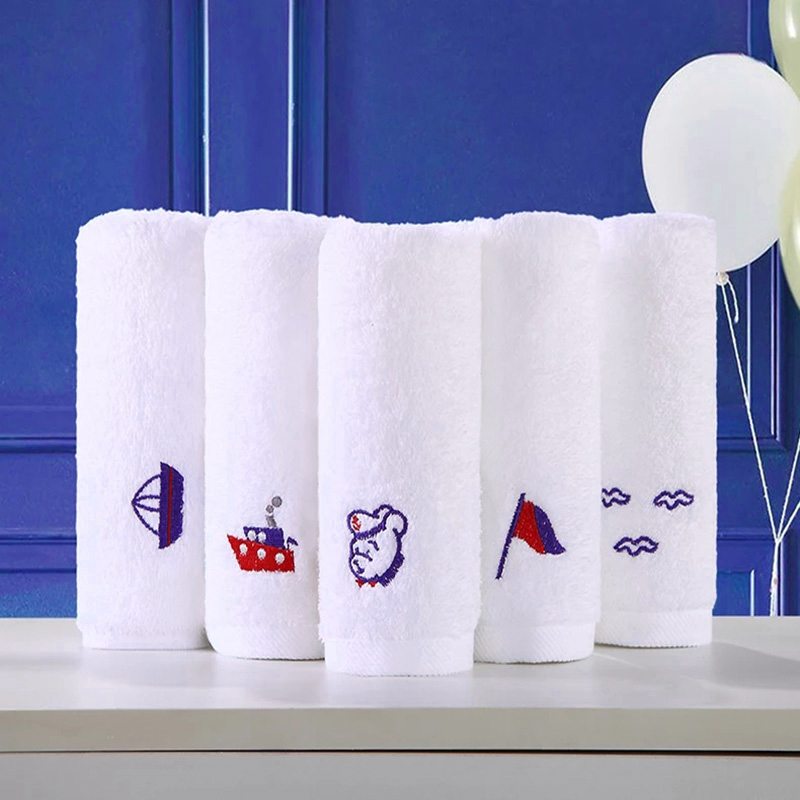 sweat absorbing high quality white embroidered face towel with logo