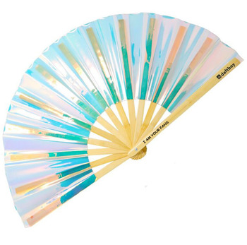 [I AM YOUR FANS] Make u to party Raver Big size 13'' Transparent Rave handheld folding hand fan Glow in dark
