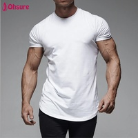 Dry fit breathable curved hem sportswear tee muscle white scoop bottom t shirt