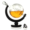 Handmade Gift Vodka Liquor Etched 850ml Glass Globe Whiskey Decanter With Ship With Bar Funnel