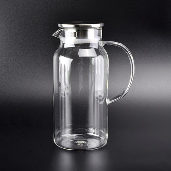 borosilicate glass pictcher wholesale with lid, glass water jug