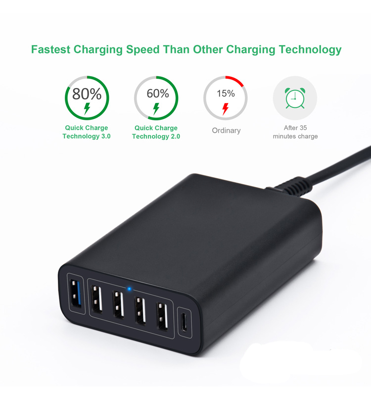 2019 New 60W 6 Port Desktop Multi Port Fast Quick Charge 3.0 Charger Type C Power Adapter for Phone and Tablet