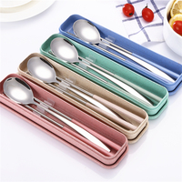 customized logo spoon chopsticks Wholesale China Cutlery Set Eco Portable Travel Adult Cutlery set