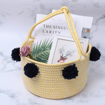 High Quality Custom Small Handcraft Sundries Storage Paper Rope Basket With Handles