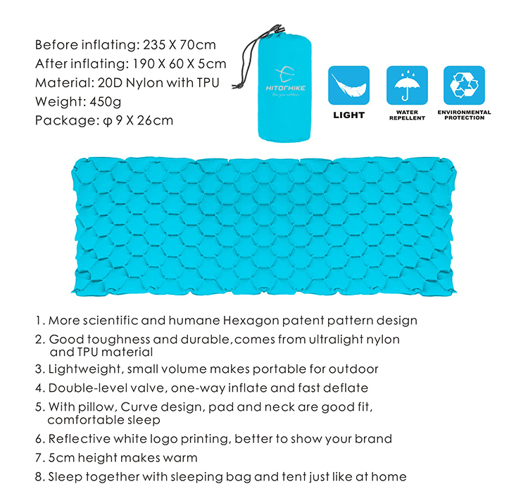 HOMFUL Outdoor camping easy inflate sleeping pad air mattress