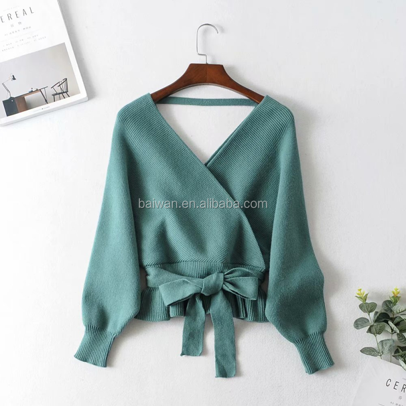 Ins Hot Design Women Winter Solid Color Double V-neck  Batwing Sleeve Sweater Mujer