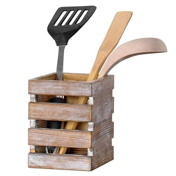 Factory wholesale torch burning ched wood kitchen cooking utensil holder