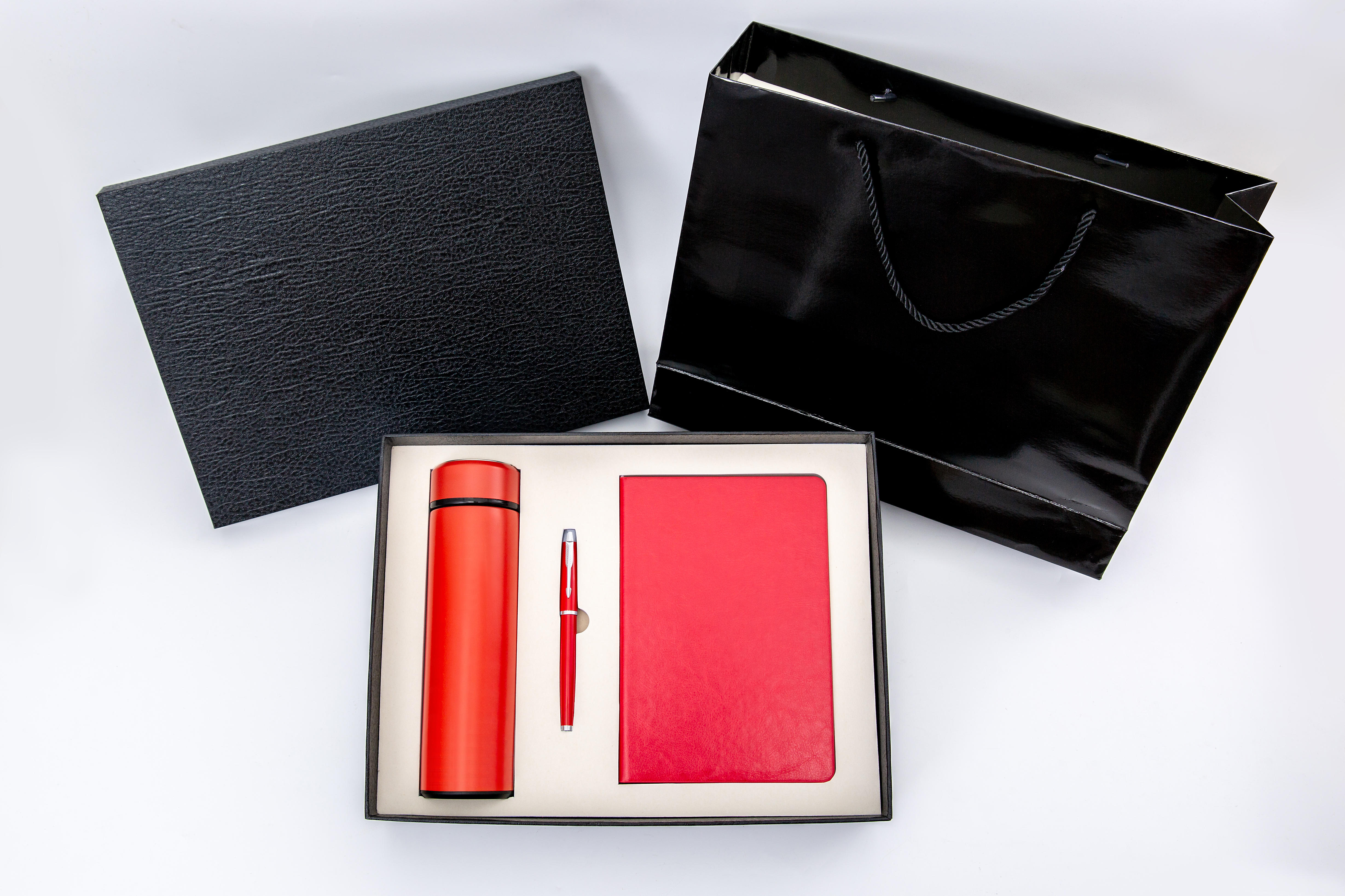 Corporate gift set promotional notepad pen and flask gift set custom logo office set
