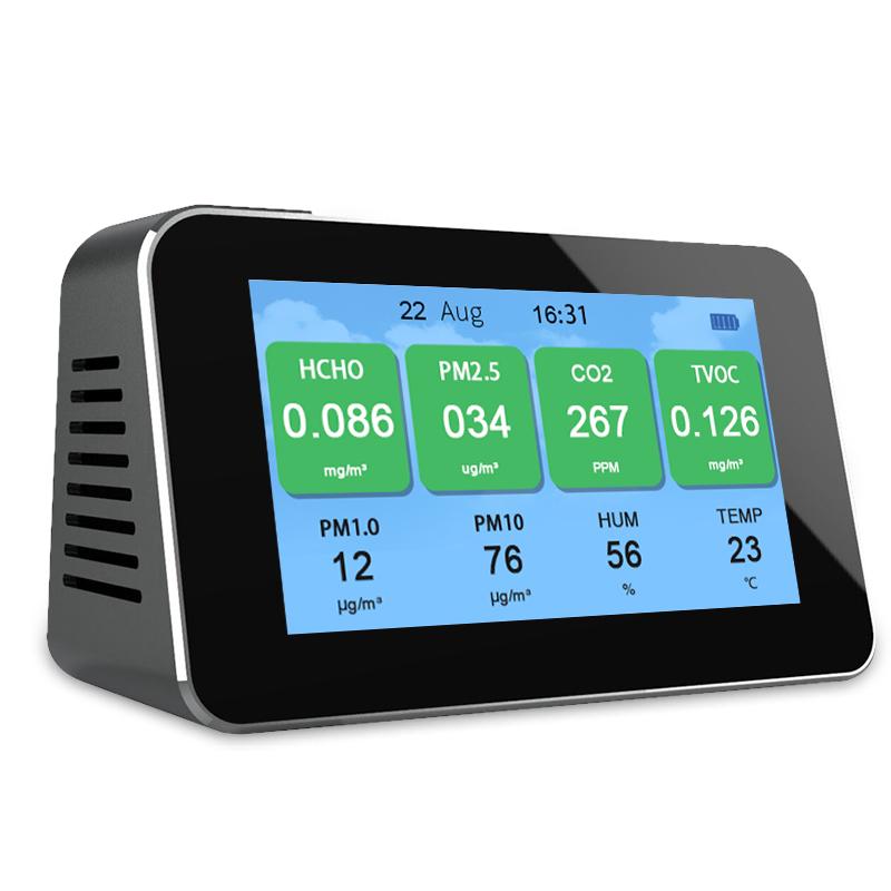 MULTIGAS Detector Analyzer PM2.5,CO2,HCHO,TVOC,PM1.0,PM10 Micron Particulate Matter Dust Temperature humidity meter Diagnostic