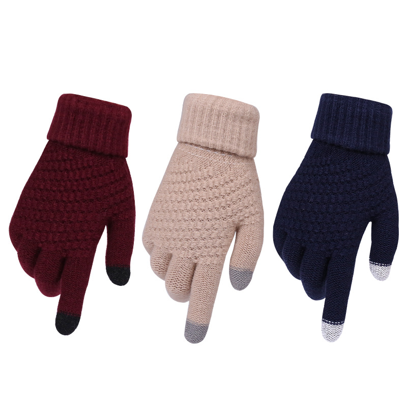 Youki 2020 Winter Magic Gloves Touch Screen Women Men Warm Stretch Knitted Wool Mittens acrylic Gloves
