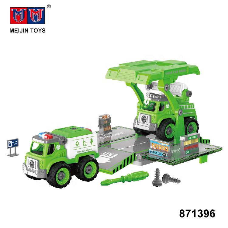 plastic 2 truck model diy parking lot building blocks toy car