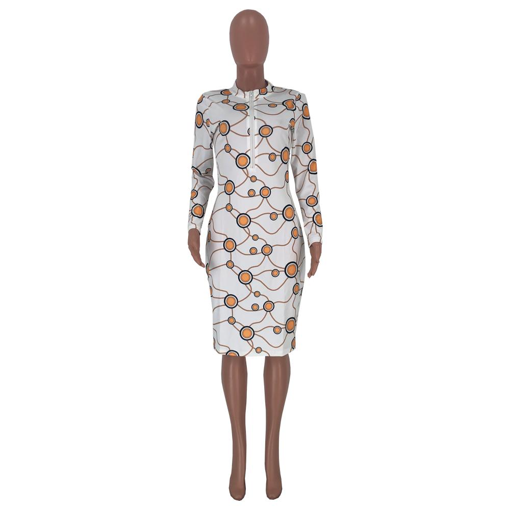 2020 Printed Zipper Sexy Round Neck Digital Print Ladies Single Room Club Dress 202003088506