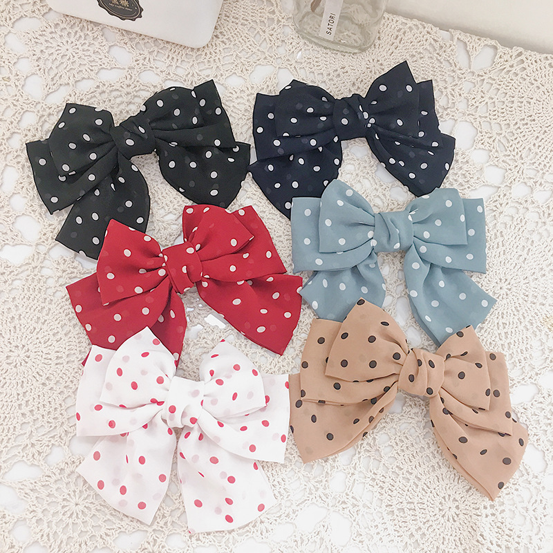 Retro simple chiffon wave pointthree-layer bow spring hair clips girl cloth art hair accessories women