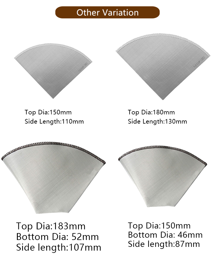 stainless steel pour over coffee filter, folding drip coffee filter