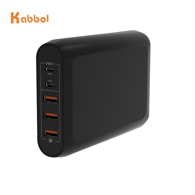 USB Tipe C Charger Laptop Power Adapter, 100W 5 Port USB Charger Dinding dengan 18W & 60W Tipe C Power Delivery PD Charger dan QC 3.0