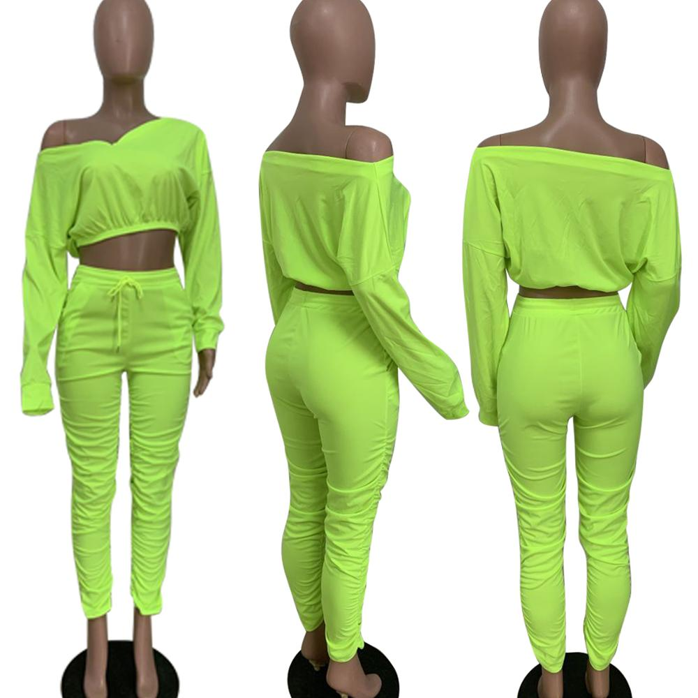 women106 Fashion Design Autumn Women Solid Color Draped Off Shoulder Sexy 2 Pcs Outfits Two Piece Set