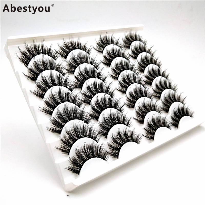 Abestyou 14 pairs Custom label synthetic fiber falsies eye lashes false strip eyelashes