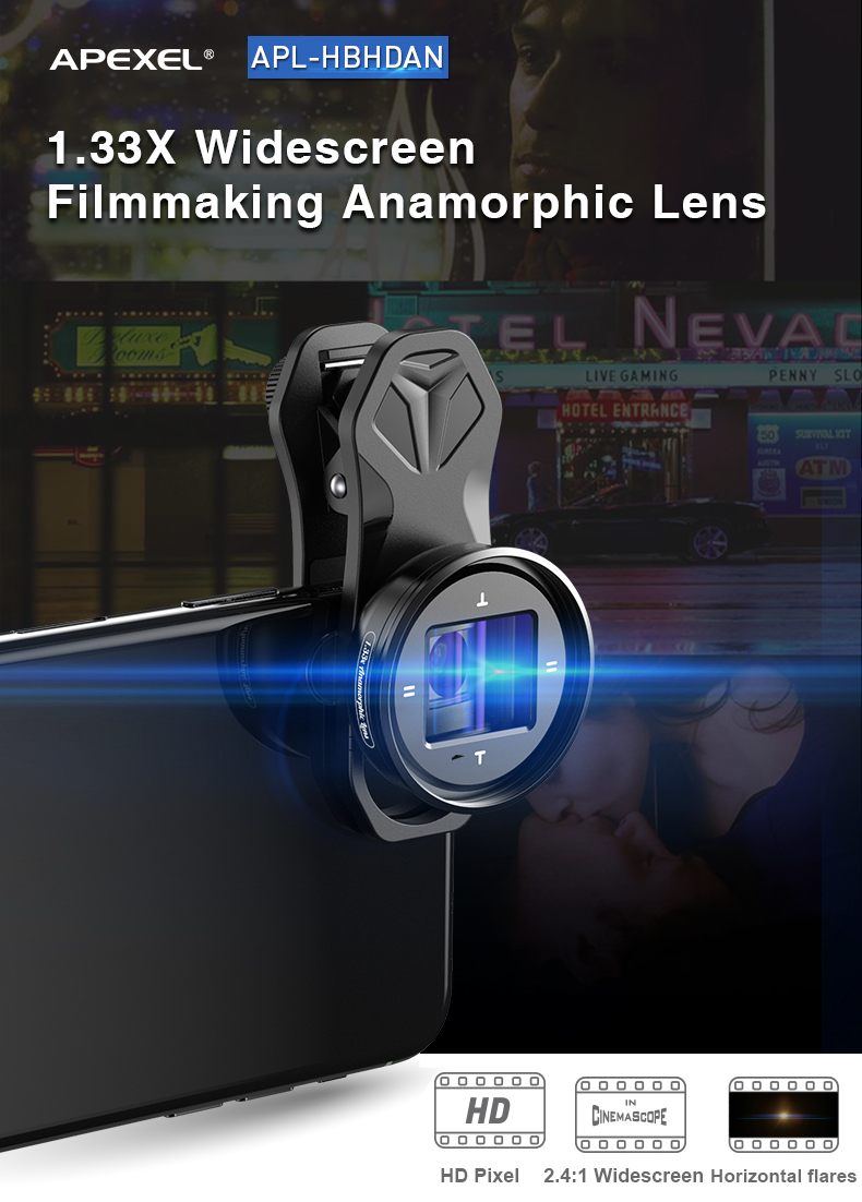 Apexel Anamorphic Lens Pro 1.33X Wide Screen Video Widescreen Slr Movie Videomaker Filmmaker Universal Phone Lens