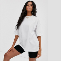 Professional Customation Blank Super Oversized Women Dropped Shoulders Seam Design White T Shirt