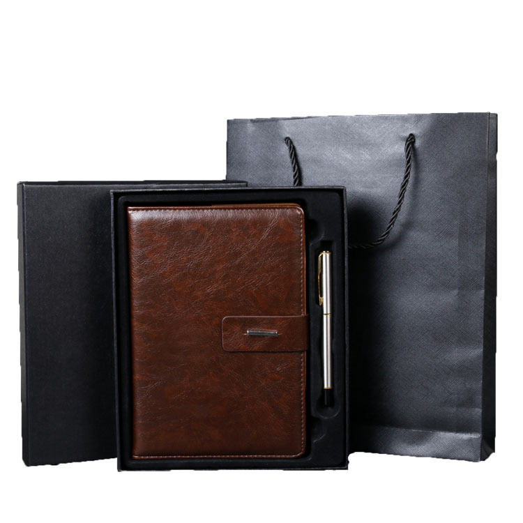 Custom Promotion A5 Leather deboss logo business notebook with Pen