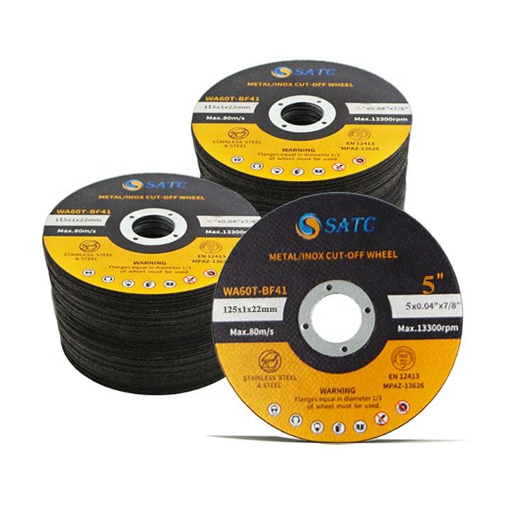 SATC yüksek hızlı 5 inç 125*1*22 kesme tekerleği/kesme diski Inox/paslanmaz çelik kesme MPA sertifikası