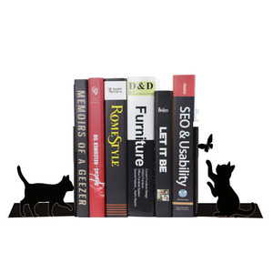 Funny animal design Bookends,Decorative Metal Book Ends Supports for Shelves