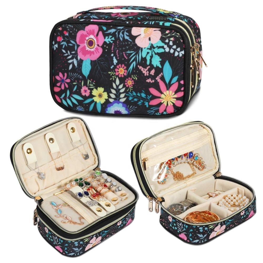 Compact and Portable Travel Jewelry Case Double Layer Storage Carrying Jewelry Organizer Bag for Necklaces, Earrings, Bracelets