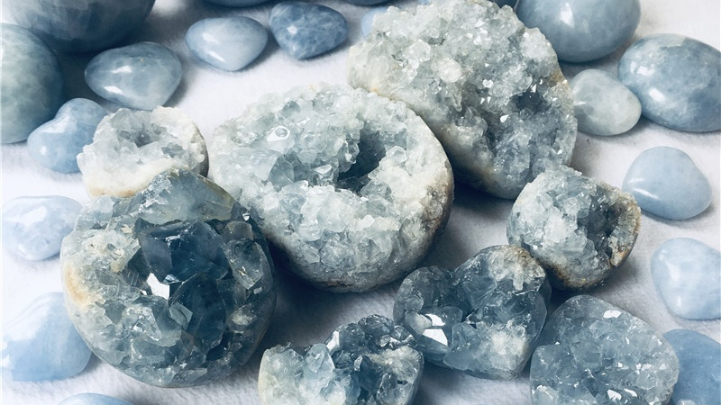Alta Qualidade Azul Natural Celestite Geode de cristal cluster cluster Espécime Mineral Para A Decoração