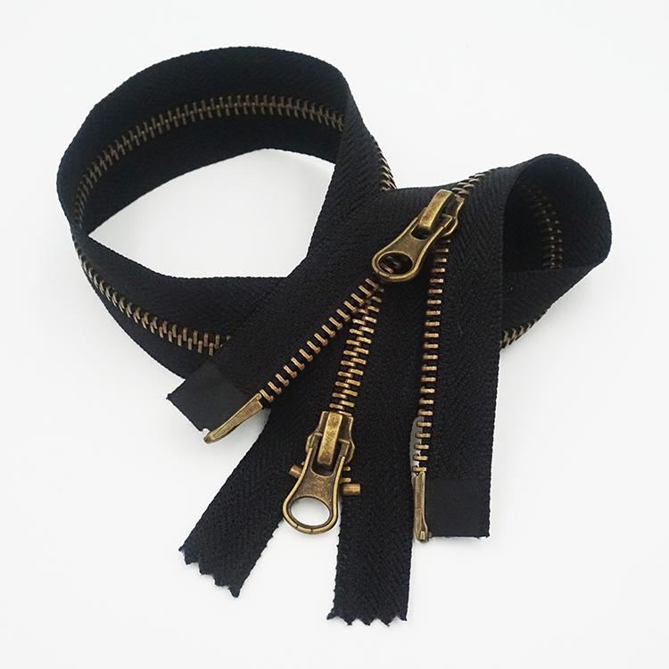 Nhà Sản Xuất Tùy Chỉnh Kim Loại 5 # Hai Mặt Zip Khóa Kéo Mạnh Mẽ Puller Zipper Cho Jacket Quần Áo