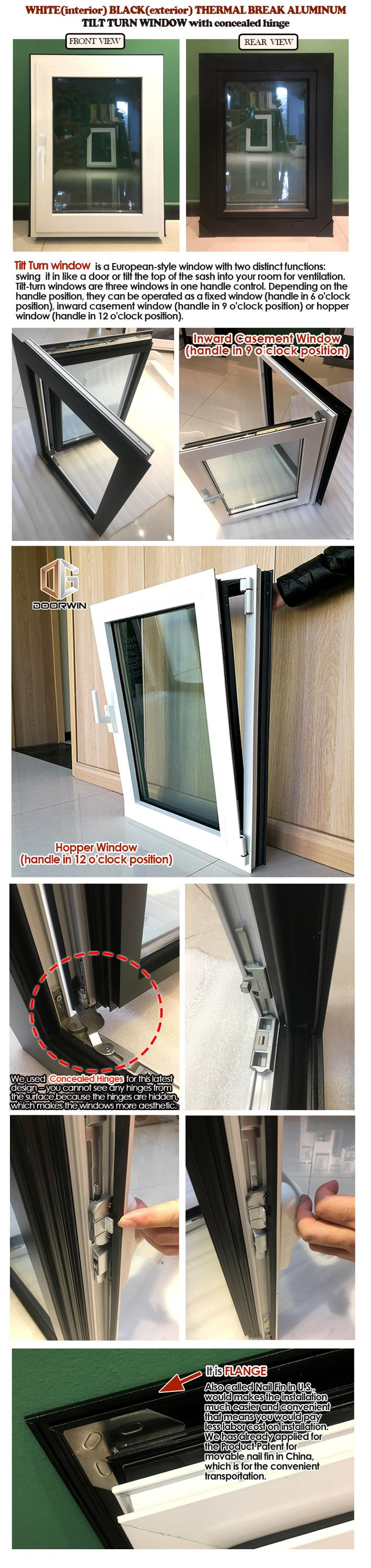 White Aluminum Tilt Turn Casement Windows  in accordance to America Building Code