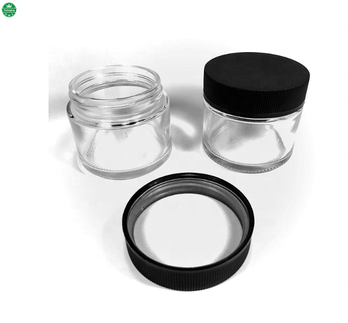 Straight Sided Heavy Wall Glass CRC Concentrate Container with Cover