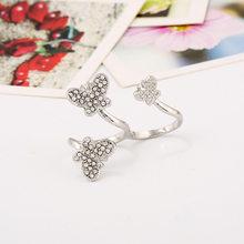 Лук двойное кольцо с бриллиантом персонализированное женское кольцо орнамент()