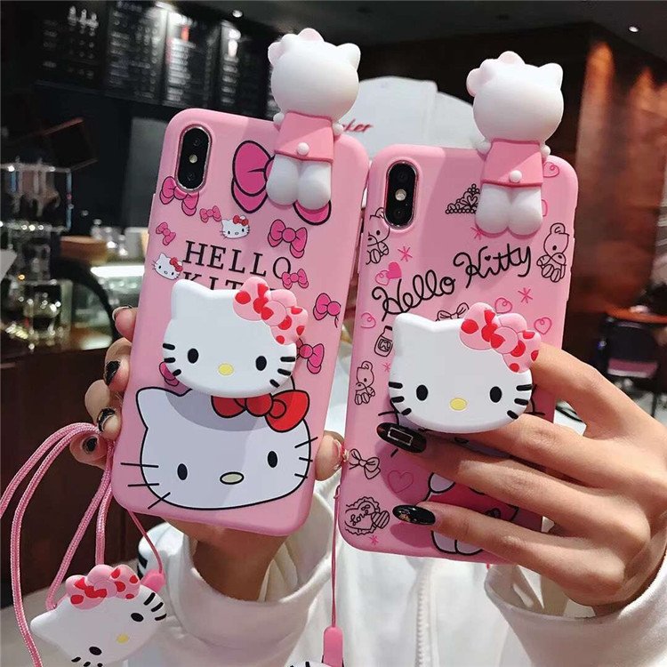 KT Cat 3D Cute Doll Strap Pendent kitty Soft Case for iPhone 11 Pro <strong>Max</strong> 11Pro 11 7 8Plus X Xs <strong>Max</strong>