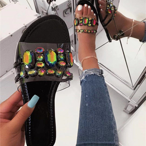 Women fashion sexy flat with diamond crystal pvc jelly high quality cheap summer sandals shoes slippers
