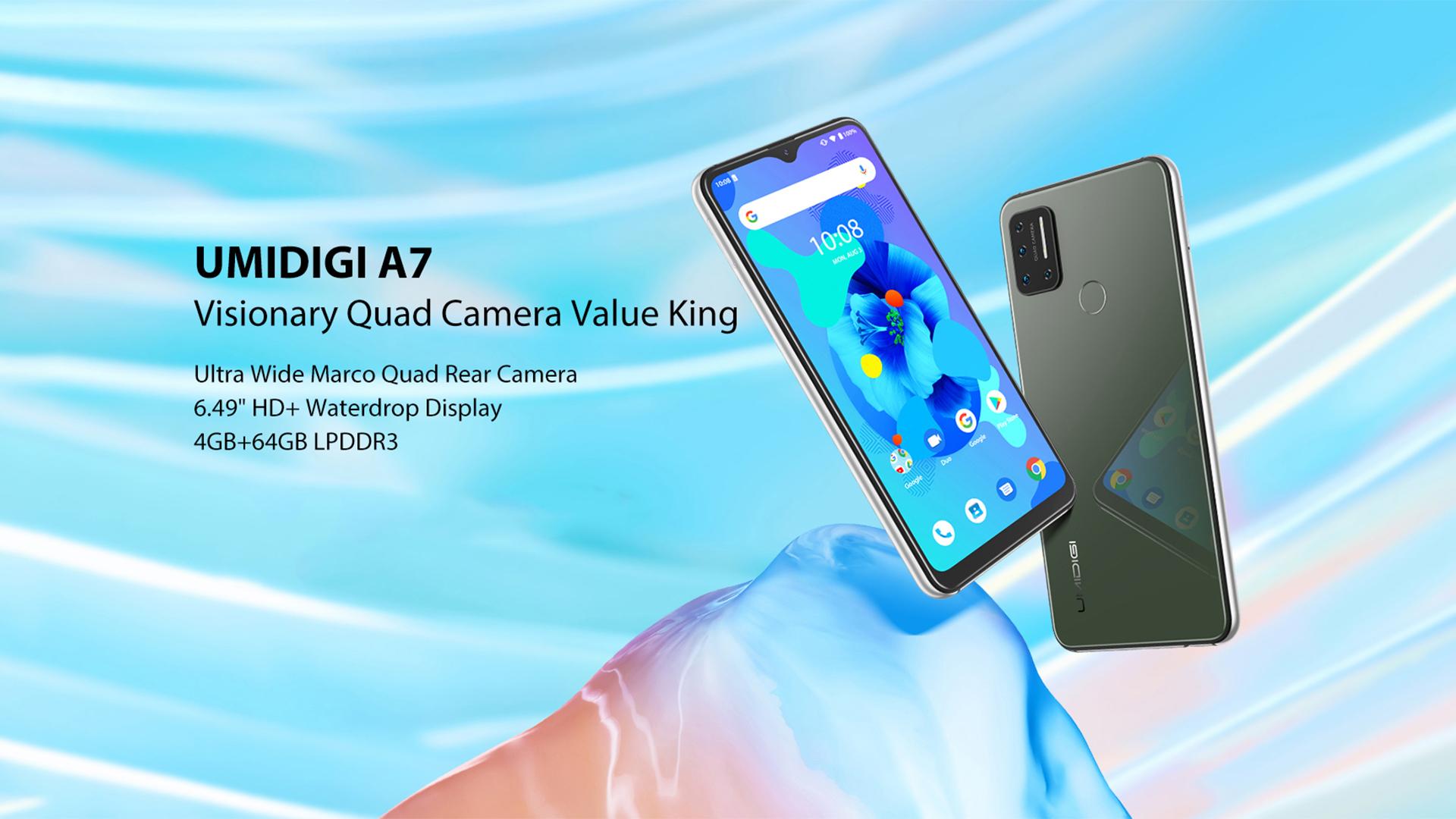 UMIDIGI A7 Android Celular 6.49 ''Tela Cheia 64 4GB de RAM GB ROM Câmera Octa Quad-Core Processor global Versão Smartphone 4G