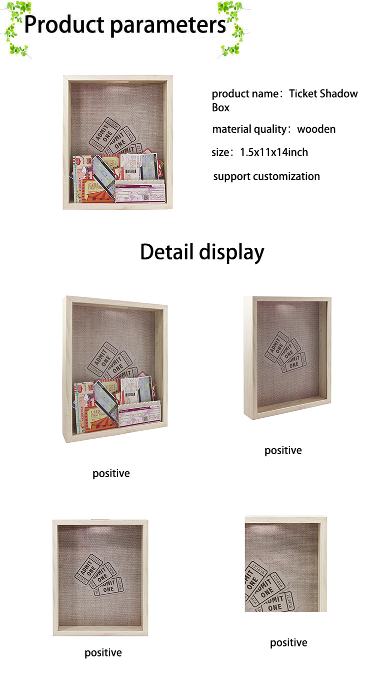 Top Loading 11x14 Natural Ticket Shadow Box Memorabilia Display Frame Raffle Ticket Stub Holder Collector Decoration