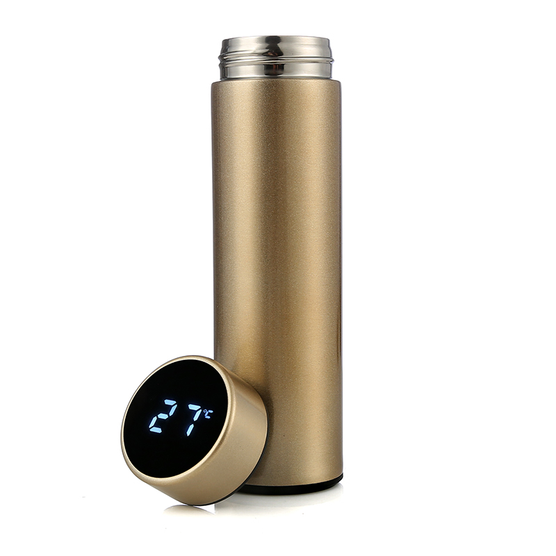 Smart Water Bottle With Tea Infuser Stainless Steel Double Walled Intelligent Vacuum Flask (Gold)