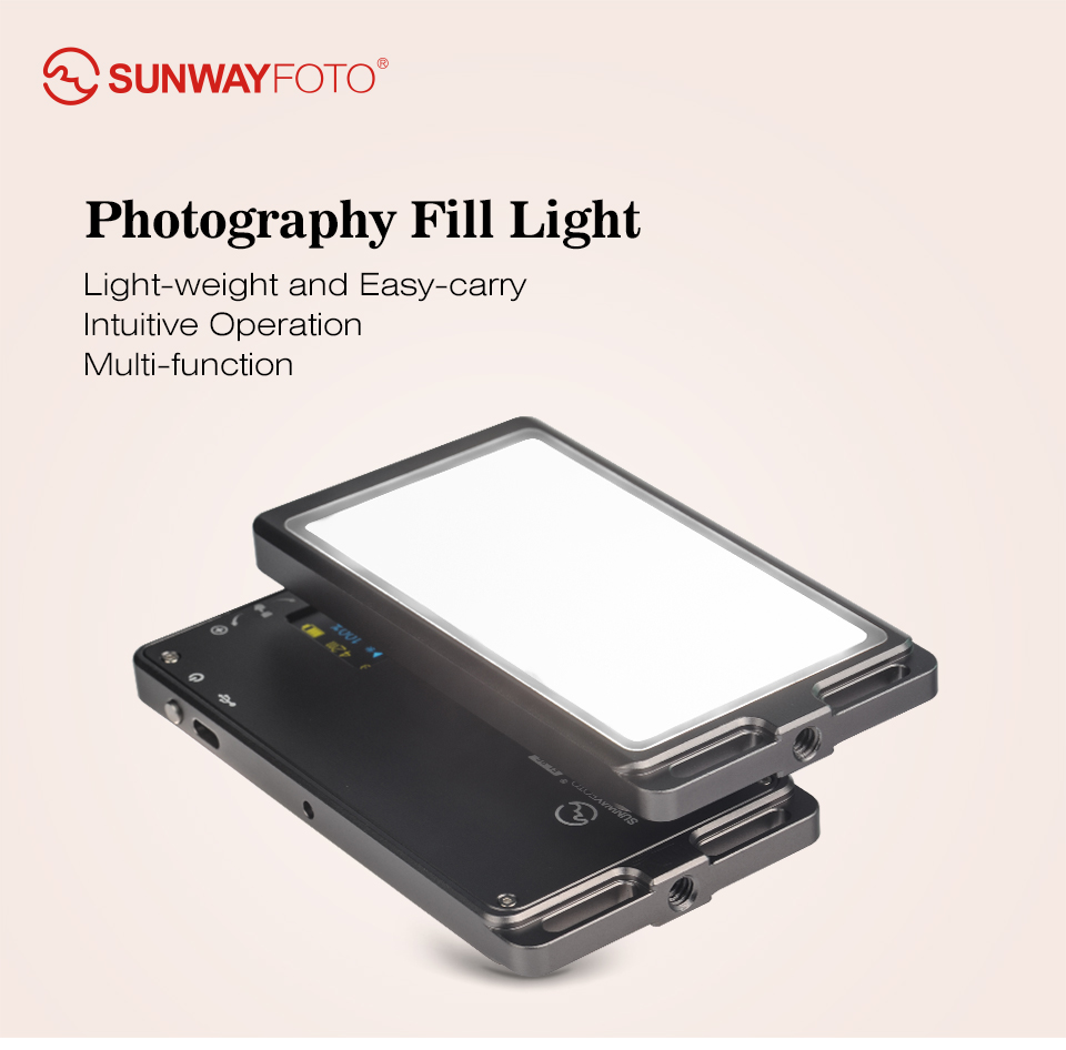 SUNWAYFOTO FL-96 Photography Fill Light OLED Display Screen Built-in Li-ion Battery for Canon Nikon camera DSLR