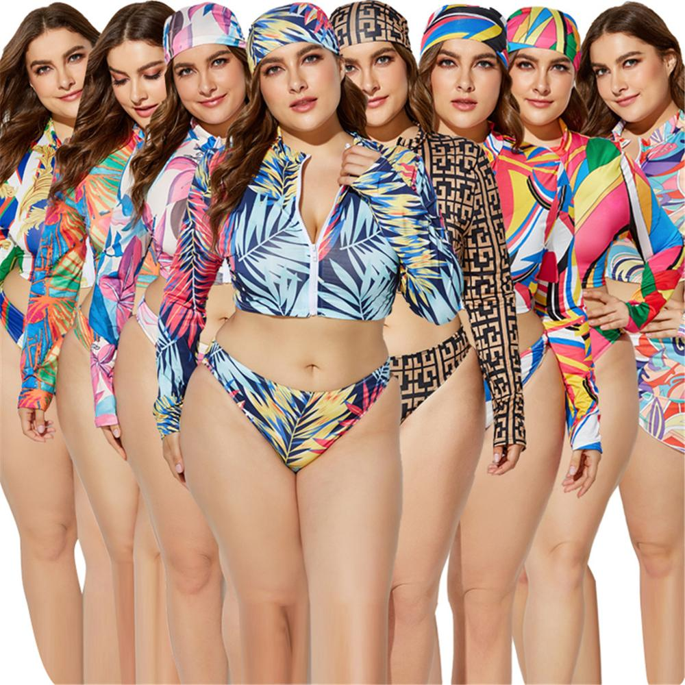 Sexy Printed Bikini <strong>Plus</strong> <strong>Size</strong> Split <strong>Swimwear</strong> Headband Tied Waist Triangle Long Sleeve Out Cover Three-piece Set Swimsuit