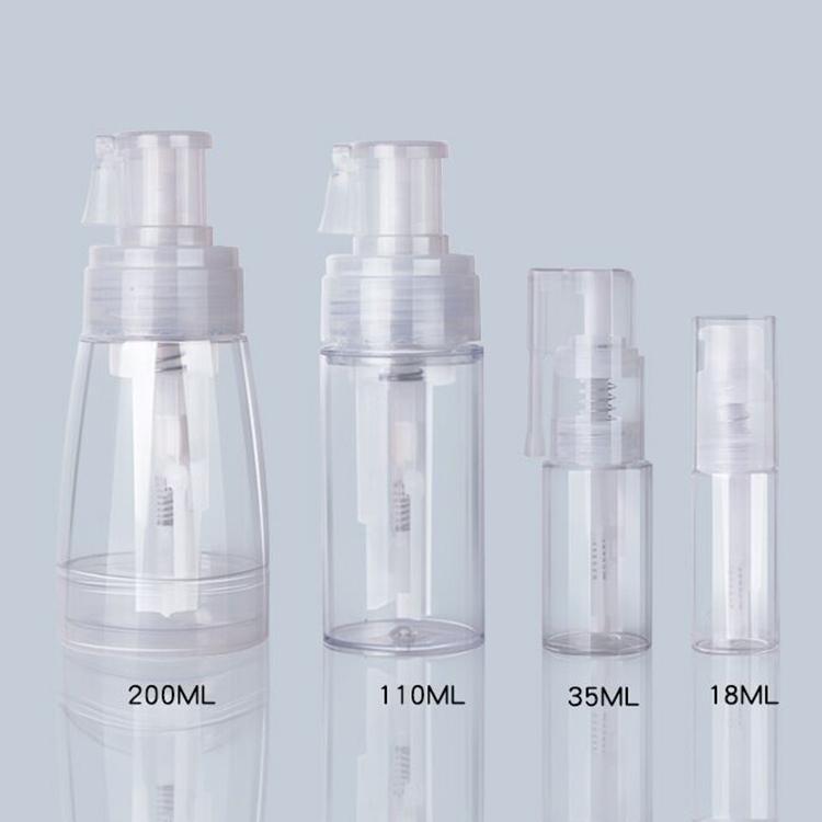 10 20 40 60 80 100 Ml cilt bakımı bebek talk plastik şeffaf pompa sprey şişesi